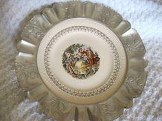Vintage Hammered Aluminum Platter Farber and Shlevin Pottery Insert