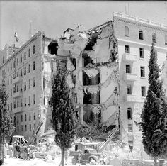"""The King David Hotel after being bombed by Irgun, 1946 [[MORE]] """" The King David Hotel bombing was a terrorist attack carried out on Monday July 1946 by the militant Zionist underground. Hotel King, Israel History, Jewish History, Eilat, Tel Aviv, Roi David, Naher Osten, King David, Great Hotel"""