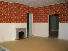 Tips for applying dollhouse wallpaper and painting walls and ceilings | Source: englishmanordollhouse.blogspot.ca