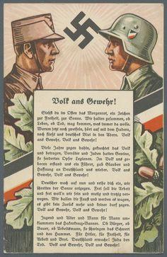 """1935 (ca.), """"Volk ans Gewehr"""", mit Liedertext von Arno Pardun (Standartenverlag Leipzig), minimale Eckbestoßungen und anschriftseitig gering fleckig,"""