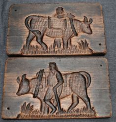 RARE ANTIQUE DUTCH CARVED DOUBLE COOKIE MOLD SPRINGERLE FARMER with BULL
