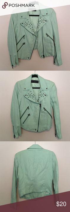 Zara Jacket Studded Light Blue Biker Jacket Zara Jackets & Coats