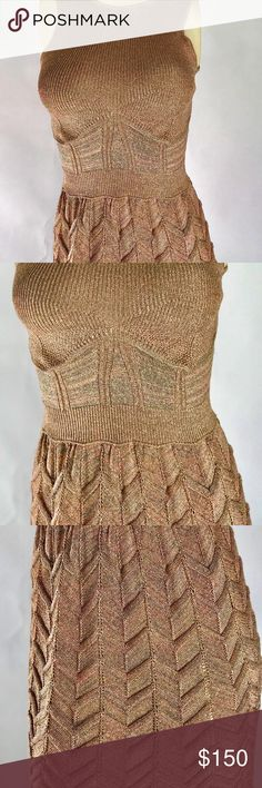 M MISSONI Gold Wavy Knit Metallic Gold Sparkle M MISSONI Gold Wavy Knit Metallic Gold Sparkle Dress 40 bust 12'' unstreteched length 34'' M by Missoni Dresses High Low