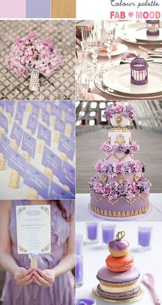 lilac dusty pink gold wedding theme, gold pink lilac wedding colour palette - love that Marie Antoinette cake!!