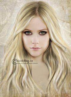 Avril Lavigne digital painting, full view on www.artwork.blackmag.cz