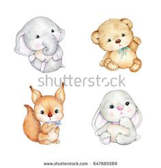 Set of cute baby animals -Teddy bear, bunny, elephant, squirrel