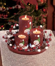 6-Inch Set of 2 Craft Outlet Tin Snowman Candle Holder