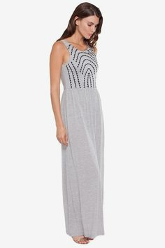 Jersey Embroidered Maxi Dress