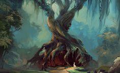 photoshop illustration twisted tree forest
