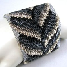 Slivers of Silver Bargello Braid Peyote Cuff by SandFibers on Etsy, $144.00