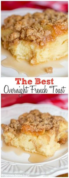 Best Overnight French Toast Overnight French Toast Ingredients 1215 slices white bread 6 eggs 2 cups whole milk 12 cup heavy cream 34 cup granulated sugar 2 tbs vanilla e. What's For Breakfast, Breakfast Items, Perfect Breakfast, Breakfast Dishes, Breakfast Recipes, Breakfast Casserole, Pumpkin French Toast, French Toast Bake, French Toast Ingredients