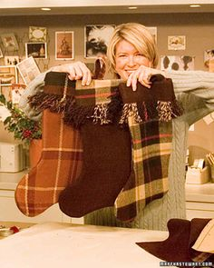 Add a personal touch to the age-old holiday tradition of hanging stockings by making your own this year. Transform worn wool blankets into oversize stockings using our template. If your blanket is striped or plaid, be sure that the pattern on both sides of the stocking match up. And if your blanket has a fringe, line it up with the top of the stocking pattern so it will become the edge of the cuff.