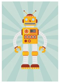 Retro Robot poster art for kids happy nursery print baby door handz