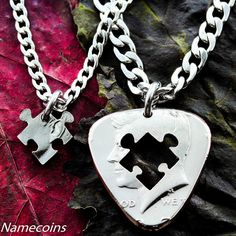 Guitar pick and Puzzle Piece Best Friends Necklaces, BFF or Couples Gifts, His and Her, Music Necklace, Hand Cut Coin Couple Necklaces, Couple Jewelry, Friend Necklaces, Music Necklace, Guitar Pick Necklace, Dog Tag Necklace, Puzzle Piece Necklace, Small Necklace, Custom Guitar Picks