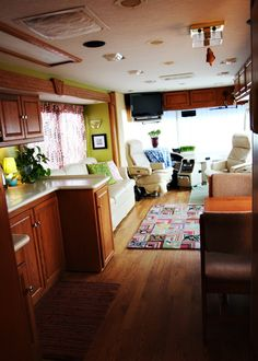 This was the happyjansens.com RV.  After years of living of RV living including several RV remodels they sold this RV, but if you can find their website you will be inspired!  Hubby did/does? custom food oil conversions for diesels and they are wonders at remodels!