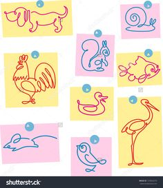 stock-vector-on-separate-sheets-of-paper-shows-some-animals-made-one-stroke-outline-illustration-done-in-125834273.jpg (1383×1600)