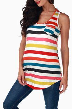 Multi-Colored Striped Maternity Tank Top. Could even wear this after as big shirt or a sleep dress.