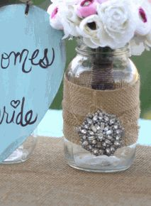 burlap or jute with vintage pin