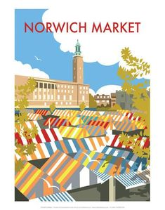 Norwich Market - Dave Thompson Contemporary Travel Print Posters by Dave Thompson - AllPosters.co.uk