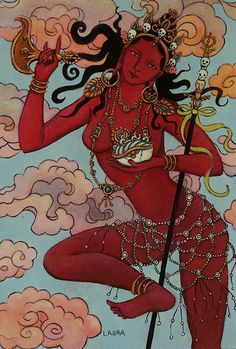 "A dakini (Sanskrit: ""sky dancer"") is a Tantric priestess of ancient India who ""carried the souls of the dead to the sky"". This Buddhist figure is particularly upheld in Tibetan Buddhism. The dakini is a female being of generally volatile temperament, who acts as a muse for spiritual practice."