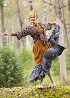 Gudrun Sjoden -- Dancing barefoot in the woods Bohemian Mode, Bohemian Style, Tribal Fashion, Boho Fashion, Tribal Mode, Swedish Fashion, Cashmere Poncho, Models, Colourful Outfits