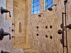 Horseshoe Bay Mediterranean Walk Thru Shower by Zbranek & Holt Custom Homes, Luxury Custom Home Builder Austin & Horseshoe Bay