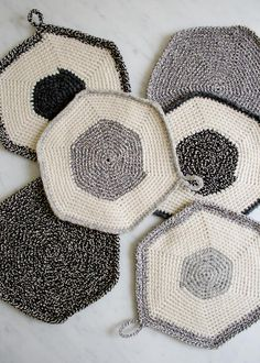 Whit's Knits: Crocheted Set-of-Three Pot Holders - The Purl Bee - Knitting Crochet Sewing Embroidery Crafts Patterns and Ideas!