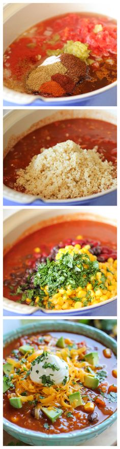Quinoa Chili - 1 TB olive oil 3 cloves garlic 1 onion 2 cups cooked quinoa 2 (14.5-oz) cans diced tomatoes 1 (15-oz) can tomato sauce 1 (4.5-oz) can diced green chiles 1 1/2 TB chili powder 2 tsp cumin 1 1/2 tsp paprika 1 1/2 teaspoons sugar 1/2 teaspoon cayenne pepper 1/2 teaspoon ground coriander Kosher salt and freshly ground black pepper,  1 (15-ounce) can kidney beans,  1 (15-ounce) can black beans 1 1/2 cups corn kernels 3 tablespoons fresh cilantro leaves Juice of 1 lime 1 avocado