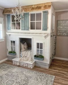 6 STUNNING BUNK BEDROOM DECOR IDEAS... Farmhouse Style Bedrooms, Farmhouse Laundry Room, Farmhouse Decor, Country Farmhouse, Modern Farmhouse, Playroom Decor, Bedroom Decor, Kids Bedroom, Bedroom Ideas