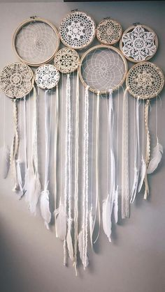 Your place to buy and sell all things handmade dreamcatcher Dream catcher collage mural Dream Catcher Bedroom, Doily Dream Catchers, Dream Catcher Decor, Diy Tumblr, Collage Mural, Doily Art, Bohemian Wall Decor, Deco Boheme, Diy Candles