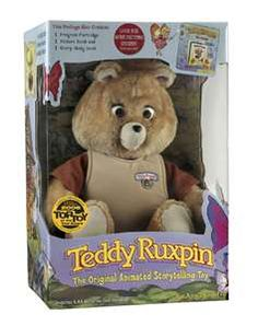 Teddy Ruxpin, early animatronic toy.  My brother put Metallica tapes in him...imagine that.