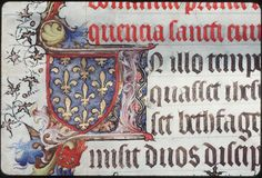 """Armorial detail from a 15th century Latin manuscript, """"The Gospels of the Sainte-Chapelle"""""""