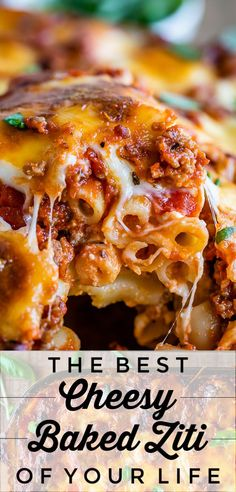 The Best Baked Ziti from The Food Charlatan. This recipe is a favorite! Italian sausage marinara, cottage cheese, and fresh basil combine to make this decadent casserole. The best part is the mozzarella that Ziti Al Horno, Best Baked Ziti Recipe, Baked Ziti Recipe Cottage Cheese, Baked Ziti Recipes With Ground Beef, Classic Baked Ziti Recipe, Beef Recipes, Cooking Recipes, Fish Recipes, Cake Recipes