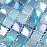 Rosy cloud  glass tiles, one of crystal glass mosaic tiles from Builder Elements, with metallic iridescent refection on the mosaic glass tiles surface, sku: MER0019, color: purple.