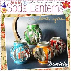 DIY Soda lanterns by thepolyvoretipchics on Polyvore featuring polyvore, art, decoration, diy, recycle and cans