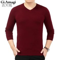 New 2017 Men s Fashion Christmas Sweater Mens Long-Sleeved Casual Sweaters  V Collar Solid color pullover men 9adbc297f2