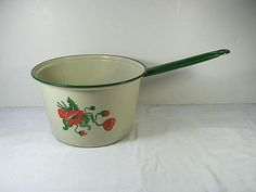 Vintage ENAMELWARE POPPIES Cooking POT by LavenderGardenCottage etsy
