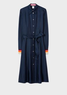 0574329bb0dd Women's Navy Satin Silk Shirt Dress With 'Artist Stripe' Cuffs - Paul Smith  US