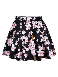 High Waist Pleated Floral Short Mini Skirt