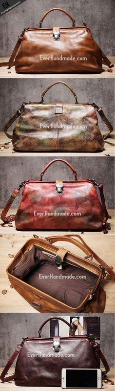 Handmade Leather doctor bag purse for women leather shoulder