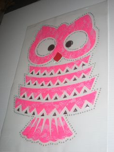 Owl Diy Heat Transfer in Pink Lace & Crystal by cthorses66 on Etsy, $11.99