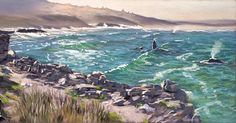 """Walker Bay Whales"" pastel on panel. There aren't many places in the world where you have such spectacular views of the ocean in the morning and the bonus of whales putting on a show while you paint en plein air. I started out wanting to capture the atmosphere with the sunlight causing the morning mist to glow but couldn't resist capturing the whales. . . . . . #whale #humpback #ocean #coastal #marineart #plein air #pastelpainting #landscape #morning Whales, Sunlight, Mists, Coastal, Glow, Ocean, Landscape, World, Artist"