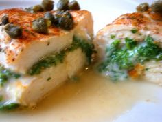 Parsley stuffed chicken with capers and white wine--just the dish to please both palette and whim. anglnwu What's for dinner? Chicken, quite naturally. That's often my meat of choice, given the fact that there are endless things you can do to it...