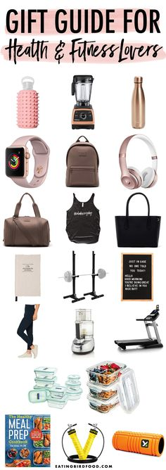 A gift guide for health and fitness lovers with ideas for both girls and guys at a variety of prices. Everything from gym equipment to meal prep containers.
