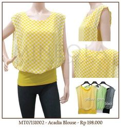 #MINEOLA Acadia Blouse yellow. Also available in green and black color. Rp.198.000,- Bust: 80cm - Length: 60cm  Fabrics: chiffon + cotton Product code: MT07131002