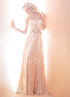 Wedding Dresses - $216.99 - A-Line/Princess Strapless Sweetheart Court Train Chiffon Wedding Dress With Ruffle Beading (0025056865)