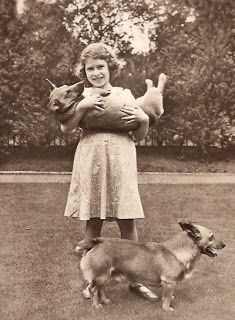 The royal Pembroke Welsh Corgis we love to love the most.   The future Queen at age 8