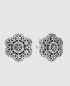 Pendientes flor en plata y circonita Pandora