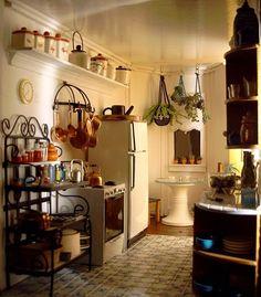 cozinha, prateleira, fogão, mesinha, Plantas, sombrinha, geladeira,