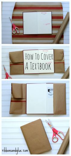 Keep those textbooks looking new by following this tutorial on how to cover a textbook. All you need is kraft paper and scissors. Easy!